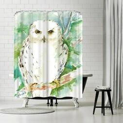 Americanflat 'White Owl' Shower Curtain White
