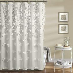 Lush Decor, White Riley Shower Curtain   Bow Tie Textured Fa