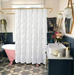 White Shower Curtain Fabric/Ruffle for Bathroom,72in Long