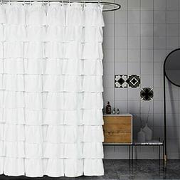 Volens White Shower Curtain Fabric/Ruffle for Bathroom,72in