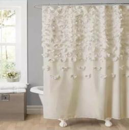 White Shower Curtain Soft Lush Decor Lucia Shower Curtain