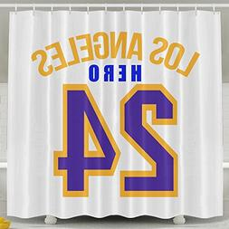BESTSC White Shower Curtains Los Angeles Hero Lucky Number 2
