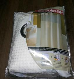 HOOKLESS White Waffle Fabric Shower Curtain