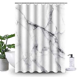 Uphome Marble Bathroom Shower Curtain, Heavy Duty White and
