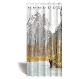 InterestPrint Wildlife Decor Shower Curtain Set, Brown Bear