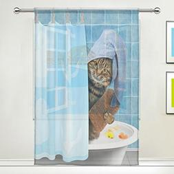 XMCL Window Sheer Curtains Funny Cat Taking Bath Decorative