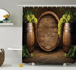 Ambesonne Winery Decor Collection, Still Life of Wine with W