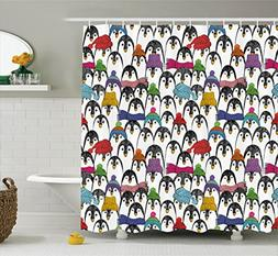 Ambesonne Sea Animals Shower Curtain, Pattern with Cute Peng