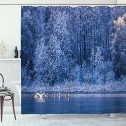 Ambesonne Winter Shower Curtain, Swans Swimming Lake Dusk Fo