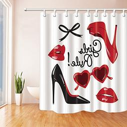NYMB Fashion Woman Makeup Decor, Vector High Heeled Shoes wi