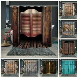 Wooden Door Pattern Printing Polyester Waterproof Shower Cur