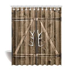 InterestPrint Wooden Garage Barn Door Shower Curtain, Vintag