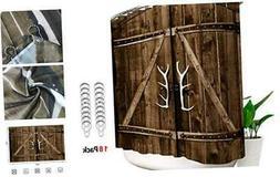 Wooden Garage Door Shower Curtain 108x72 Inch 18 Pack Metal