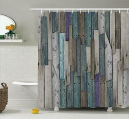 Wooden Shower Curtain Set By, Blue Grey Grunge Rustic Planks