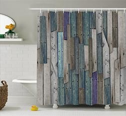 Ambesonne Wooden Shower Curtain Set, Blue Grey Grunge Rustic