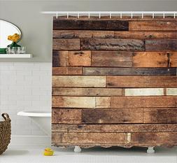 Ambesonne Wooden Shower Curtain Set, Rustic Floor Planks Pri