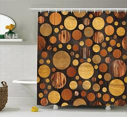 Ambesonne Wooden Shower Curtain Set, Bathrooms Sets Brown Wo