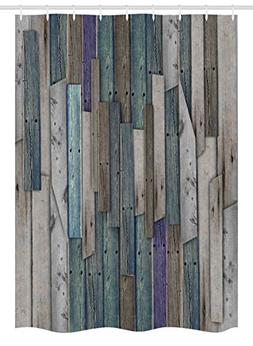 Ambesonne Wooden Stall Shower Curtain, Blue Grey Grunge Rust