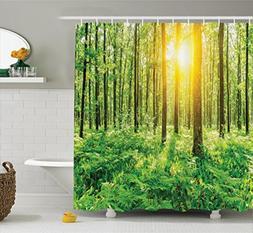 Ambesonne Woodland Decor Shower Curtain Set, Forest Springti