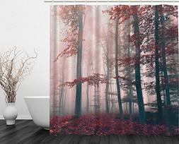 woodsy shower curtain red mystic