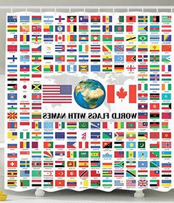 world country shower curtain flags