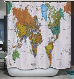 World Map Color Fabric SHOWER CURTAIN 70x70 Vintage Look Sty