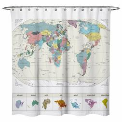 Sunlit World Map Decor Ocean City Fabric Polyester Bathroom