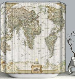 World Map Fabric SHOWER CURTAIN 70x70 Vintage Look Style Cou