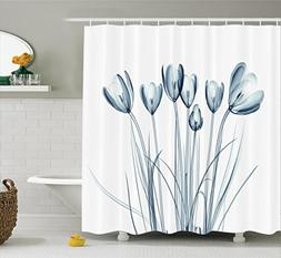 Ambesonne Xray Flower Decor Shower Curtain, Image of Tulips