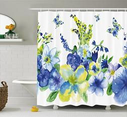 Ambesonne Yellow and Blue Shower Curtain, Spring Flower Wate