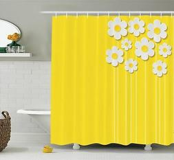 Yellow Decor Shower Curtain Set by Ambesonne, Spring Flowers