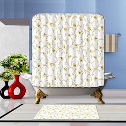 Yellow Flower Pattern Waterproof Fabric Shower Curtain Bathr