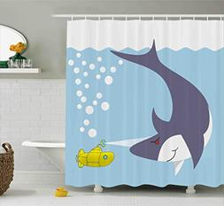 Ambesonne Yellow Submarine Shower Curtain Set, Shark with Ve