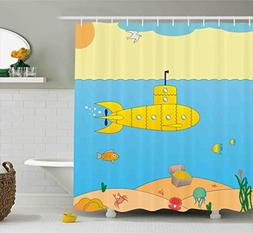 Ambesonne Yellow Submarine Shower Curtain Set, Cartoon Under