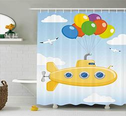 Ambesonne Yellow Submarine Shower Curtain Set, Blue Sky with