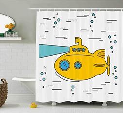 Ambesonne Yellow Submarine Shower Curtain Set, Ocean Nautica
