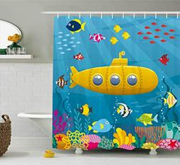 Ambesonne Yellow Submarine Shower Curtain Set, Coral Reef wi