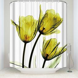 Chic D Yellow Tulip Flowers Florals 84 inch Extra Long Showe