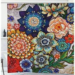YoKII 96Inches Fabric Shower Curtain Boho Floral, 180GSM Wat