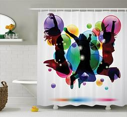Ambesonne Youth Shower Curtain, Happy People Teenagers Jumpi