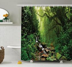 Ambesonne Zen Fresh Shower Curtain Forest Decor, Forest in N