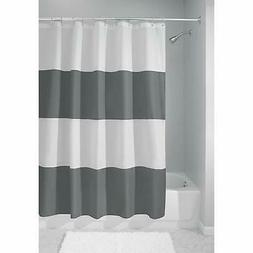 INTERDESIGN ZENO GRAY/WHITE WIDE STRIPE POLYESTER SHOWER CUR