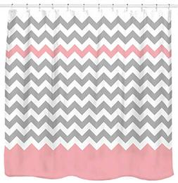 Sunlit Zigzag Pink and Grey White Chevron Shower Curtain, Ge
