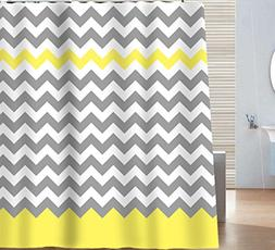 Sunlit Zigzag Yellow and Gray White Chevron Shower Curtain.