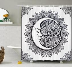 Ambesonne Zodiac Shower Curtain, Intricate Boho Ethnic Manda